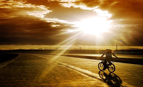 road sun clouds bycicle spirit trek journey spirituality
