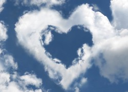 clouds in sky forming a heart