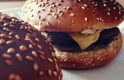 close up of two hamburgers