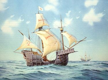 drawing of a carrack ship at sea