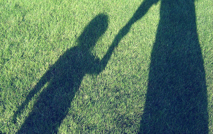 shadow on grass of adult holding hands with child