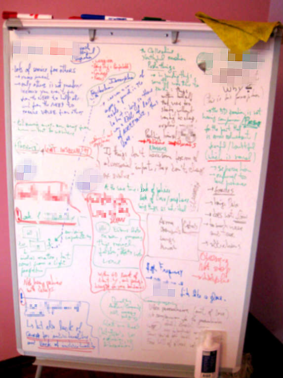 photo of my white board while I do a reading