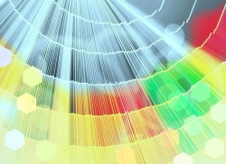 artistic rendition of light refracting from a central core