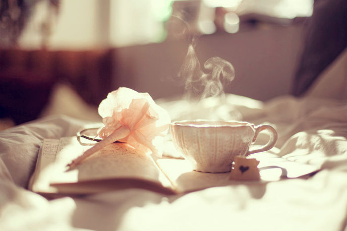 diary, flower, and cup of tea