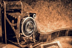 old camera with film