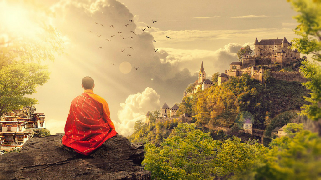 artistic rendition of meditating monk in green scenery