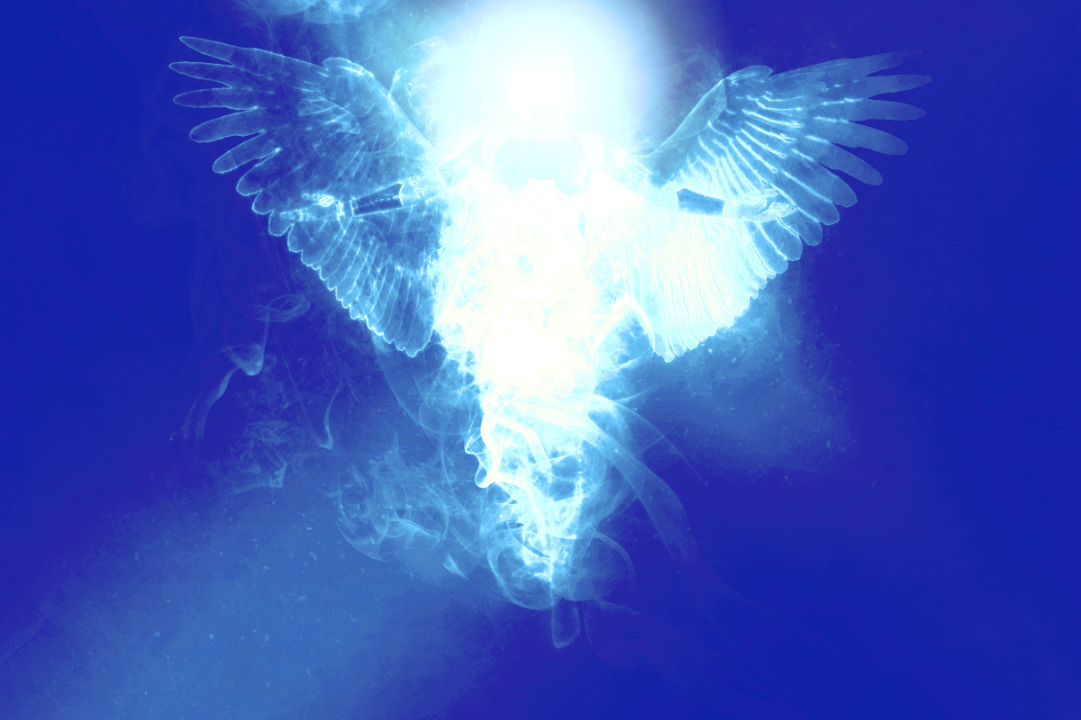 representation of archangel bathed in light