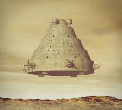 artistic rendition of a vimana craft flying